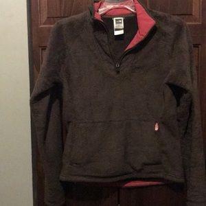Women's North Face fur 3/4 zip pullover